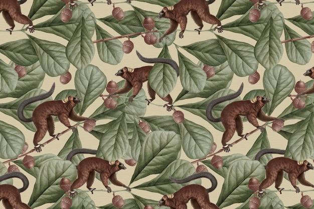 Lemur pattern background vector jungle illustration