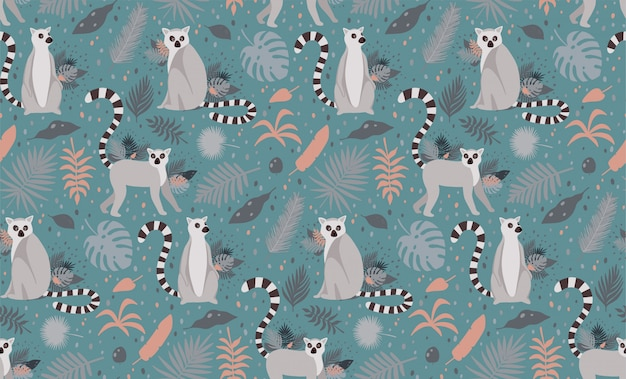 Lemur surrounded by tropical palm leaves. elegant summer vector seamless pattern texture.