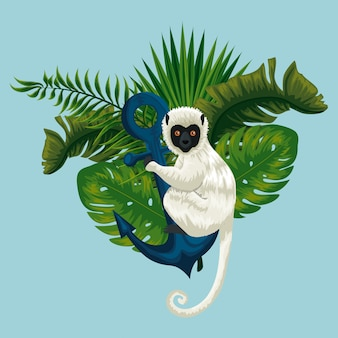 Lemur with anchor and exotic leaves plants
