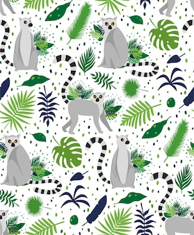 Lemures surrounded by tropical palm leaves. elegant summer vector seamless pattern texture