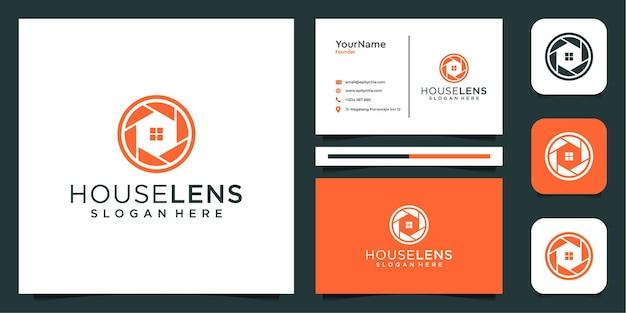名刺のインスピレーションとレンズと家のロゴ