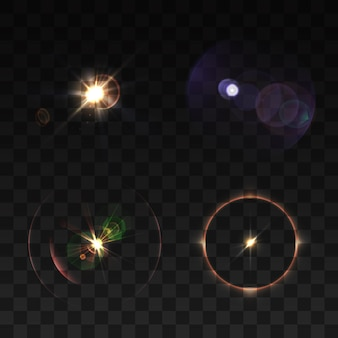 Lens beams and sparkle realistic colored set isolated