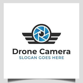 Lens camera video with wings symbol for modern drone, photo studio logo design