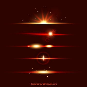 Lens flare dividers collection in red color