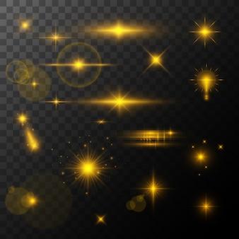 렌즈 플레어, 광선 효과. 태양 또는 하이라이트 효과와 함께 현실적인 빛나는 별. bokeh 반짝이 및 장식 조각 또는 투명 배경에 반짝.