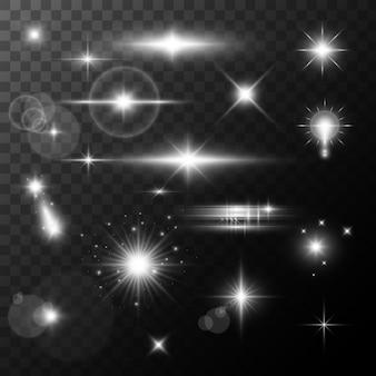 レンズフレア、グローライト効果。ハイライト効果のある太陽または現実的な輝く星。ボケキラキラとスパンコールや透明な背景の上で輝き。