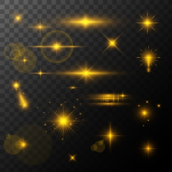 Lens flare, glow light effect. sun or realistic shining star with a highlight effect. bokeh glitter and sequins or sparkles on transparent background.