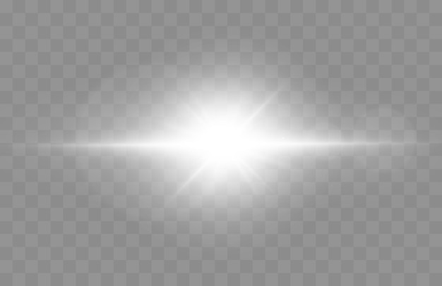 Lens flare vector illustration glowing spark light effect isolated on transparent background