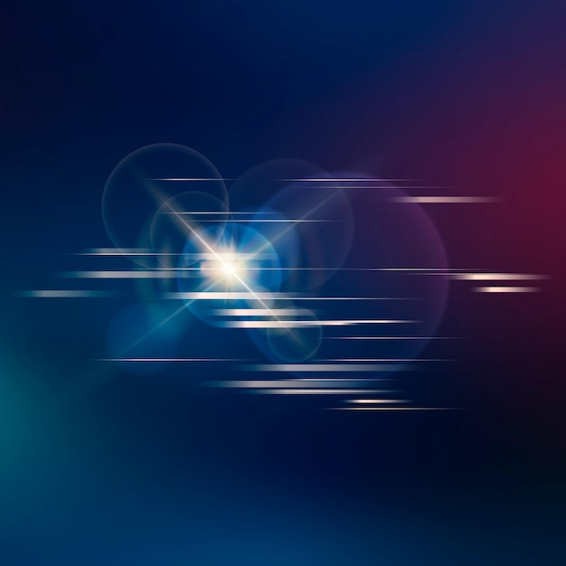 Lens flare vector technology icon in neon on gradient background