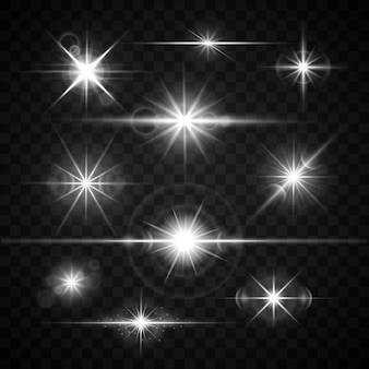 Lens flares glare lighting effects vector set. shiny stars isolated on checkered background illustra