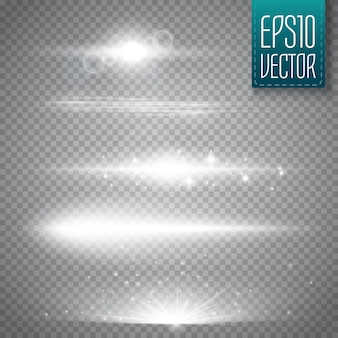 Lens flares isolated. vector illustration. shine starlight glowing light effect