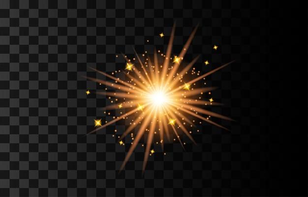 Объектив флэш иллюстрации. блеск звездного света, изолированные на прозрачном фоне. светящийся эффект света