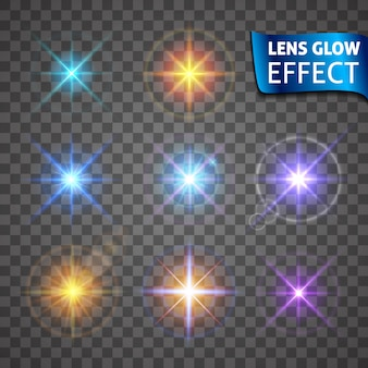 Lens glow effect. glowing light glare, bright realistic lighting effects.