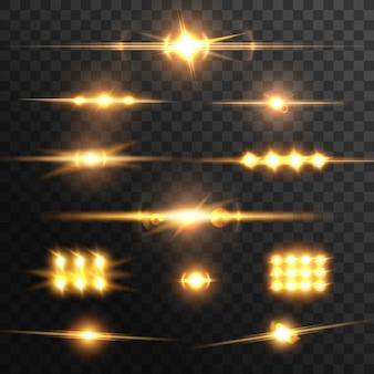 レンズフレア効果、金色の光線。ベクトルが点滅したり、星が輝いたりします。リアルな写真の輝くまぶしさ、透明な背景に分離されたデジタル稲妻の輝きのデザイン要素3dセット