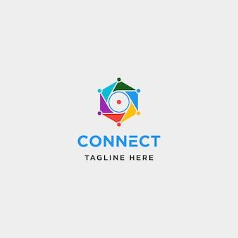 Lens hexagon technology logo design vector camera internet symbol icon illustration