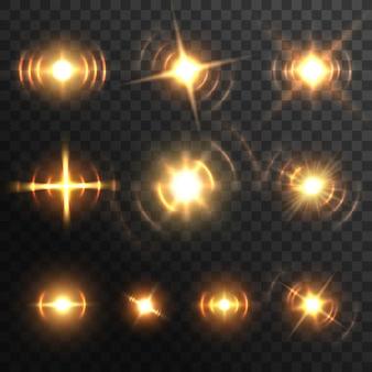レンズフレア、燃えるようなエネルギーバーストまたはヘッドライトセット