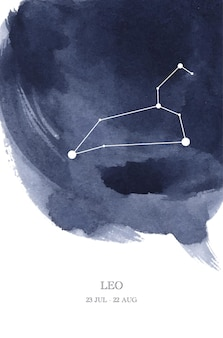 Leo constellation astrology watercolor illustration. leo horoscope symbol made of star sparkles and lines.