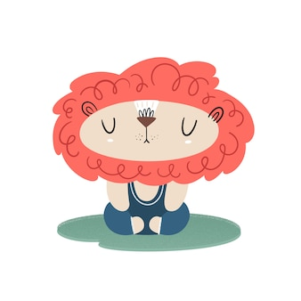 Leo does yoga and meditation. vector illustration with texture