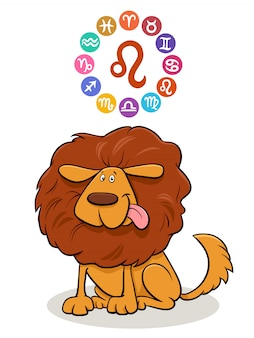 Leo zodiac sign with cartoon dog