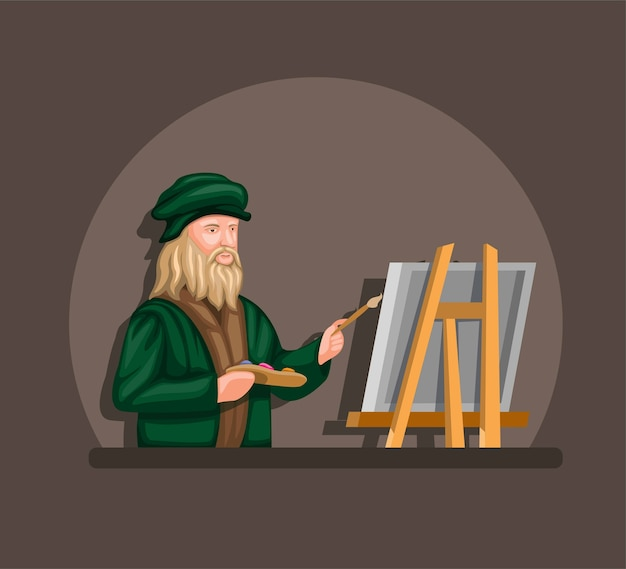 Leonardo davinci drawing and painting on canvas concept in cartoon