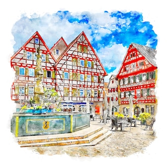 Leonberg germany watercolor sketch hand drawn illustration