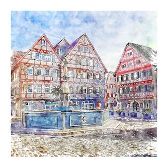 Leonberg 독일 수채화 스케치 손으로 그린 그림