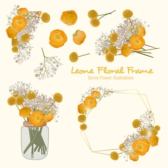 Leone Geometrical  Floral Frame Ornament
