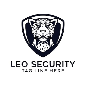 Шаблон логотипа леопарда и щита