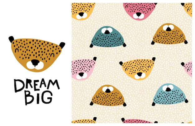 Leopard. big dream. cute face of an animal with lettering and seamless pattern. childish print in a scandinavian style. cartoon illustration in pastel colors
