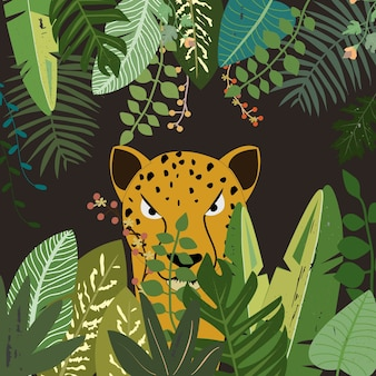 Leopard in botanical tropical forest.