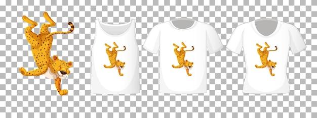 Leopardo nel personaggio dei cartoni animati di posizione di ballo con molti tipi di camicie su sfondo trasparente