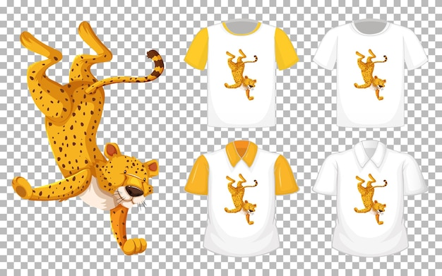 Leopard in dancing position cartoon character with many types of shirts on transparent background