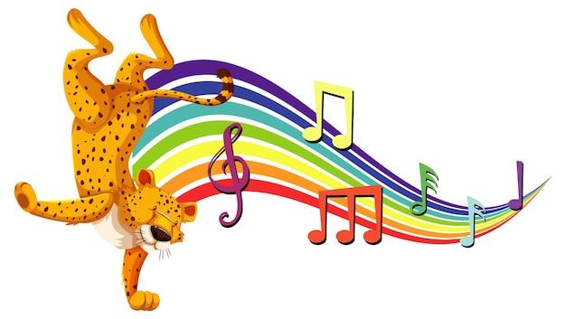 Leopardo che balla con simboli di melodia sull'arcobaleno