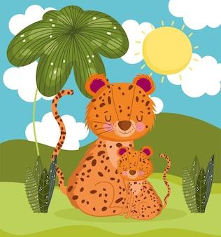 Leopard family cartoon
