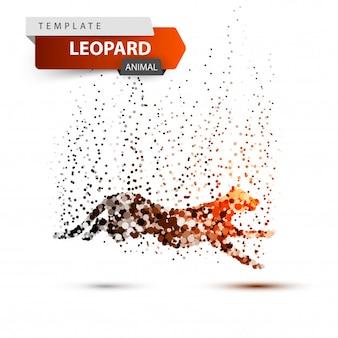Leopard in the jump - dot illustration. vector eps 10