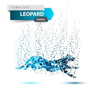 Leopard in the jump - dot illustration.