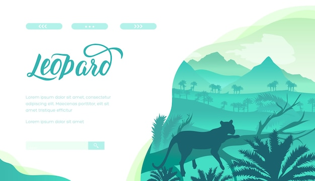 Leopard landing page template. jungle, rainforest wild animal silhouette. africa safari web banner.