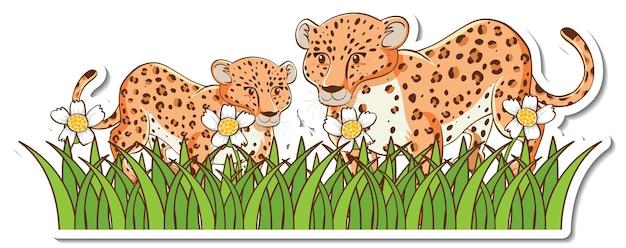 잔디밭에 서 있는 표범 엄마와 아기 스티커