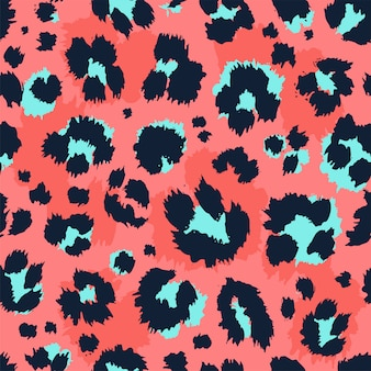 Leopard pattern design funny drawing seamless pattern.
