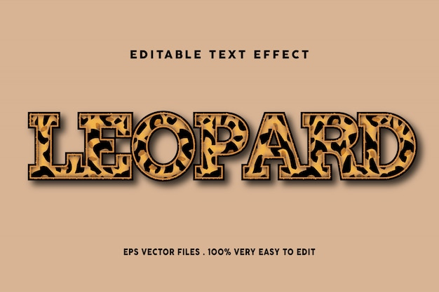Leopard pattern text effect, editable text