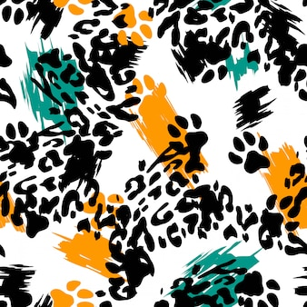 Leopard print animal seamless pattern.