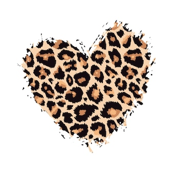 Leopard print textured hand drawn brush stroke heart shape  paint spot animal skin pattern
