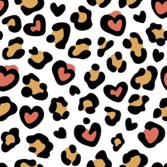 Leopard print with hearts seamless pattern with leopard spots abstract animal print