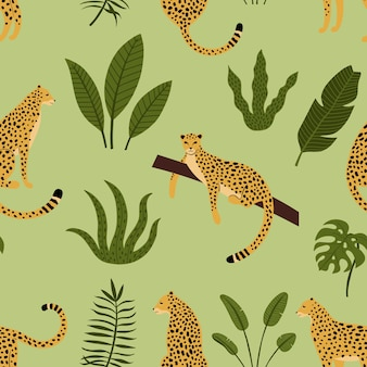 Leopard seamless pattern with tropical leaves
