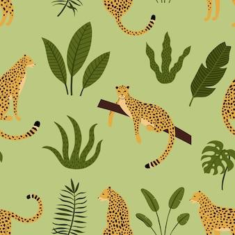 熱帯の葉とヒョウのシームレスパターン