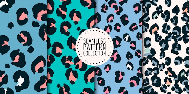 Leopard spots seamless pattern collection