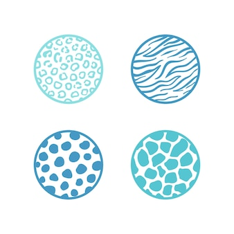 Leopard, tiger, geraffe animals pattern in circle shapes