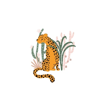 Leopard in the tropical jungle illustration composition of animal plants cacti succulents
