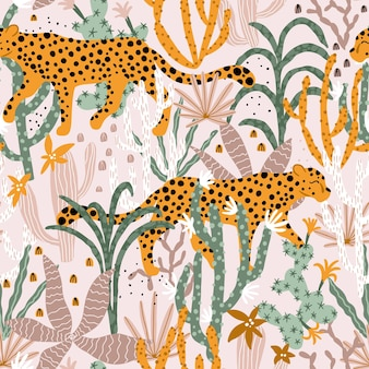 Leopard in tropical jungle seamless pattern illustrations of animal plants cacti succulents