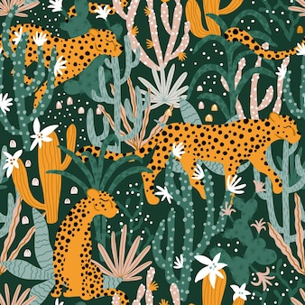 Leopard in tropical jungle seamless pattern illustrations animal plants cacti succulents